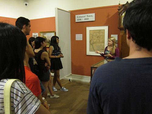 "The ""Study of the city"" class on a tour of the New Haven Museum and Historical Society."