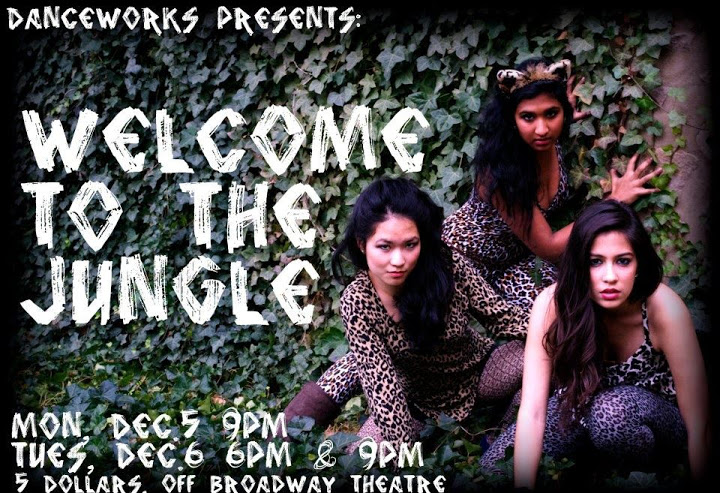 "A poster for the Danceworks show ""Welcome to the Jungle""."