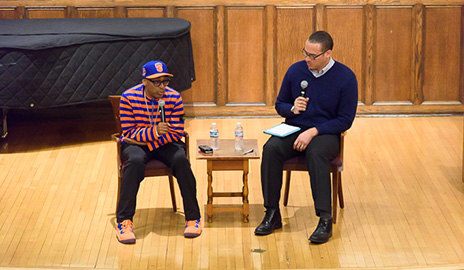 Spike Lee and Dean Holloway speaking on blackness on college campuses