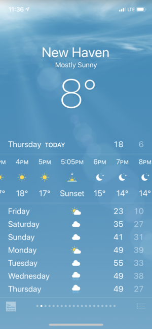 weather app showing 8 degrees