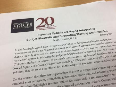Budget Summary document from the CT Legislator Breakfast earlier this morning