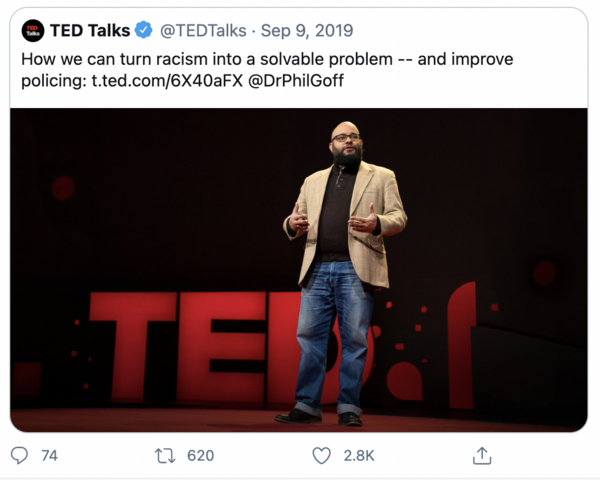 a twitter screenshot advertising my professor's ted talk