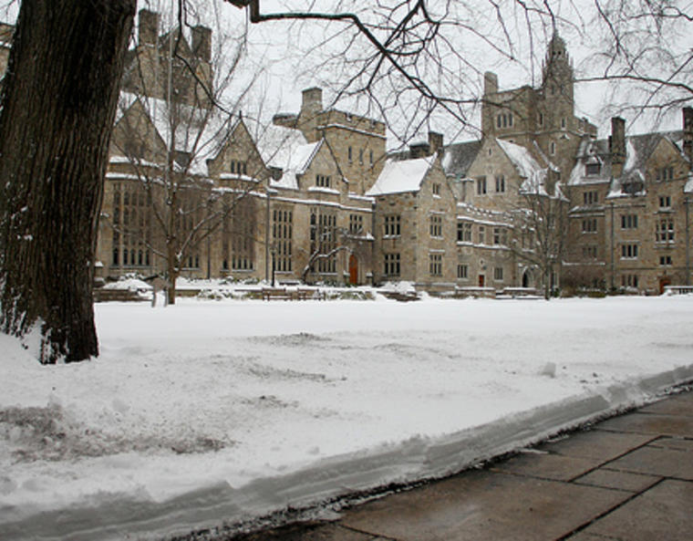 The Branford College courtyard blanketed in snow.