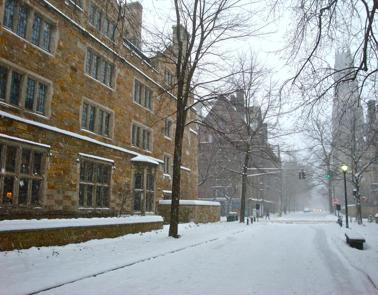 The old campus, blanketed in snow.