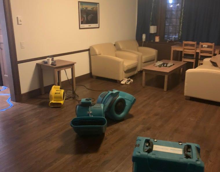 common room full of dehumidifiers