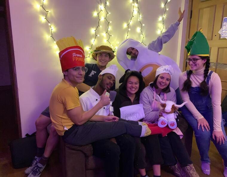 students in halloween costume