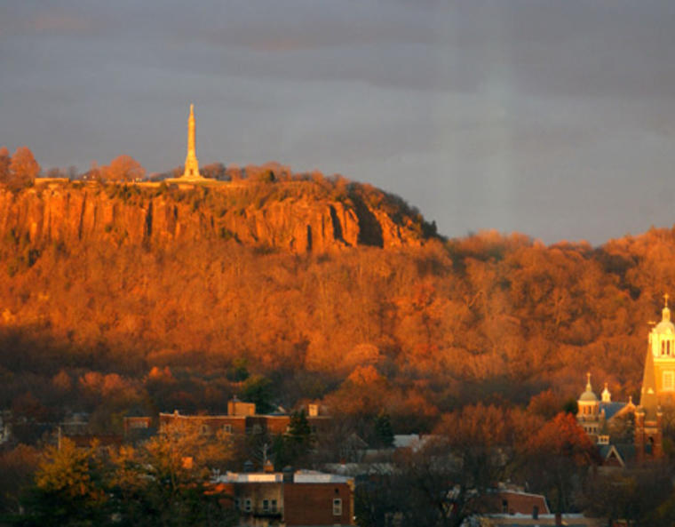 East Rock glowing in the sunset.