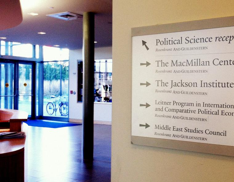 """A navigation sign in Rosenkranz hall, with each instance of """"Rosenkranz"""" appended with """"AND GUILDENSTERN""""."""