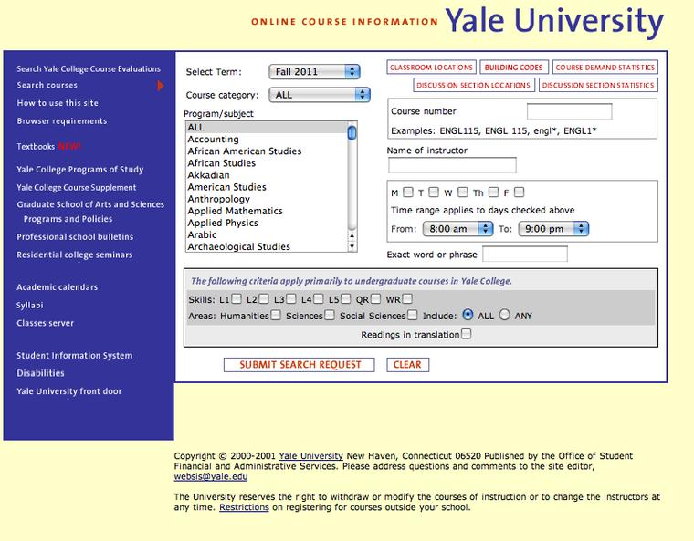 Computer Programming yale college blue book