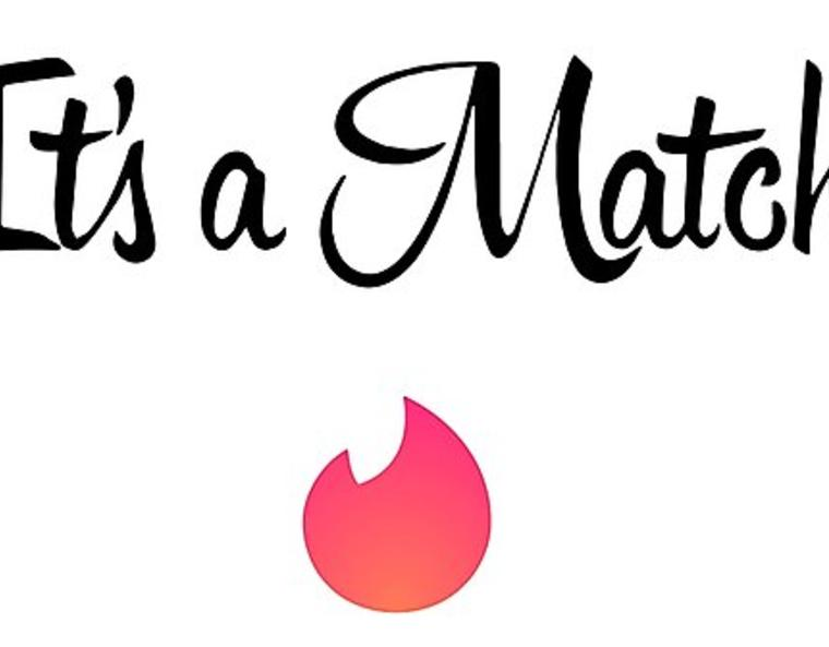 "text saying ""It's a Match!"" with the Tinder logo"