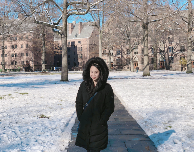 Cassandra on Old Campus, snowy