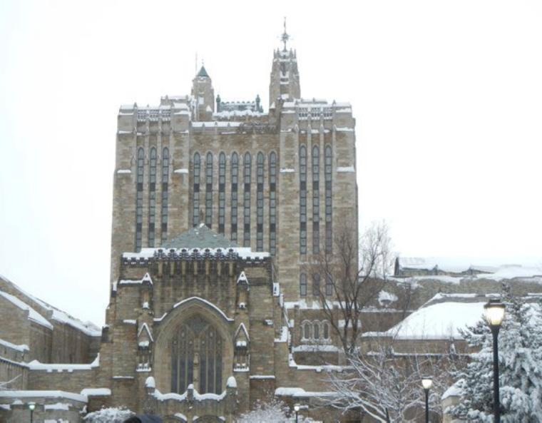 Sterling Memorial Library with a coat of snow.