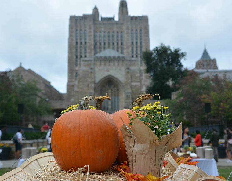 Sterling Memorial library with a pumpkin and cornucopia in the foreground