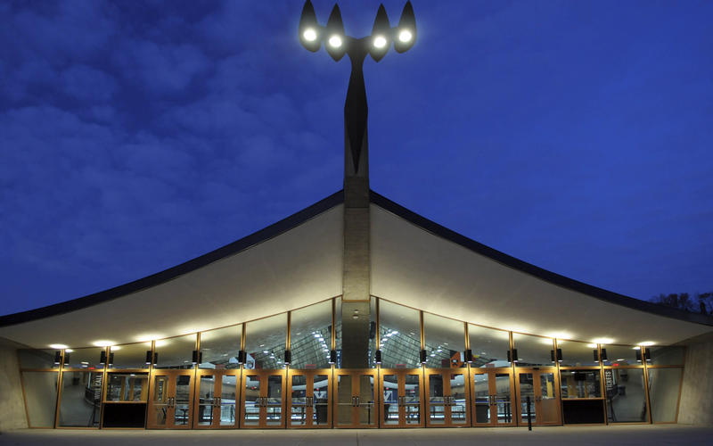 Ingalls Rink, pictured at night.