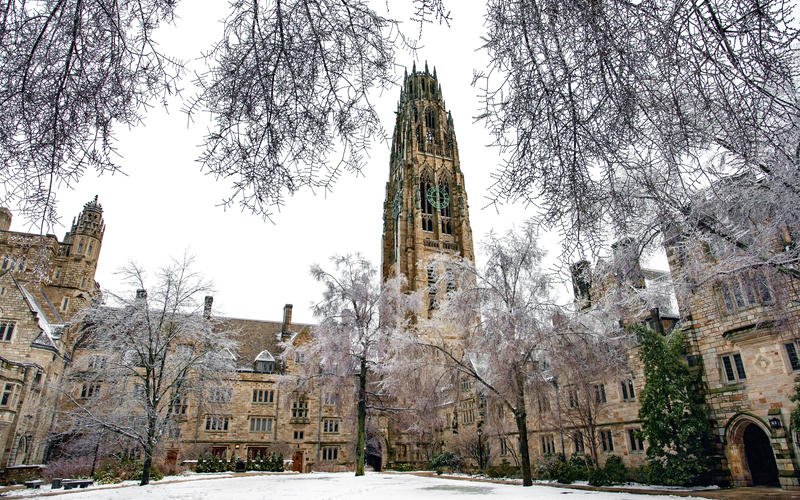 The Branford College Courtyard with Harkness Tower in winter