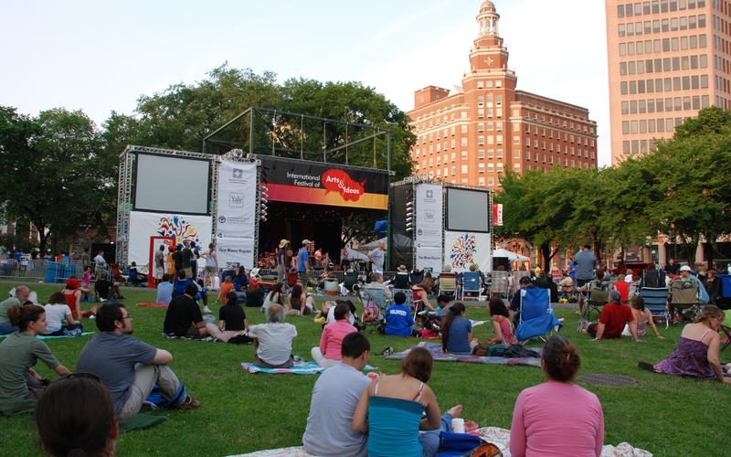 "The ""International Festival of Arts and Ideas"" stage on the New Haven Green."