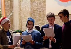 Our group of carolers performing in the Stiles dining hall!