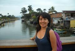 The author on a bridge across a Brazilian Canal.