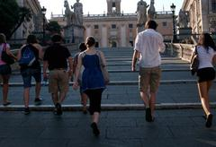 A group of students climb the Capitoline Hill in Rome.