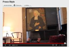 A person dancing, covered above the waist by a painting of Ezra Stiles.