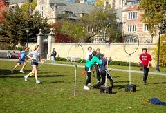 Students play a heated game of Quidditch on Cross Campus.
