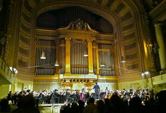 The Yale Symphony Orchestra playing beneath Woolsey Hall's famous pipe organ.
