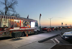 Taco trucks at sunset