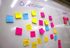 A dry-erase board covered in student ideas, written on Sticky Notes.