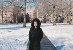 Cassandra on Old Campus, snowy