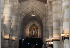 The entrance of Sterling Memorial Library