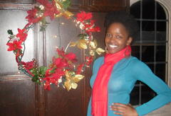 The author with a festive wreathe.