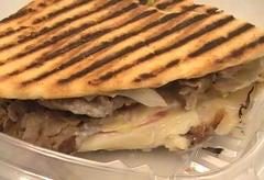 Close-up of a panini.